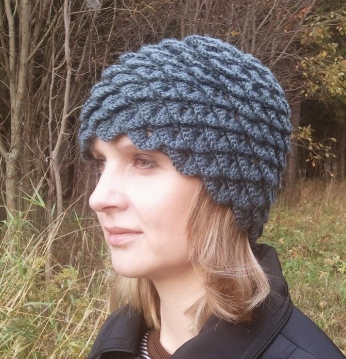 1 Женская Шапка крючком Крокодиловая кожа Crocodile stitch hat. как связать крючком шапку вихрь - Woolpedia