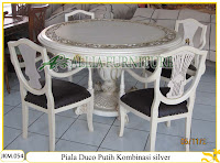 Kursi dan Meja Makan Ukiran Kayu Jati Piala Duco putih dengan kombinasi perak