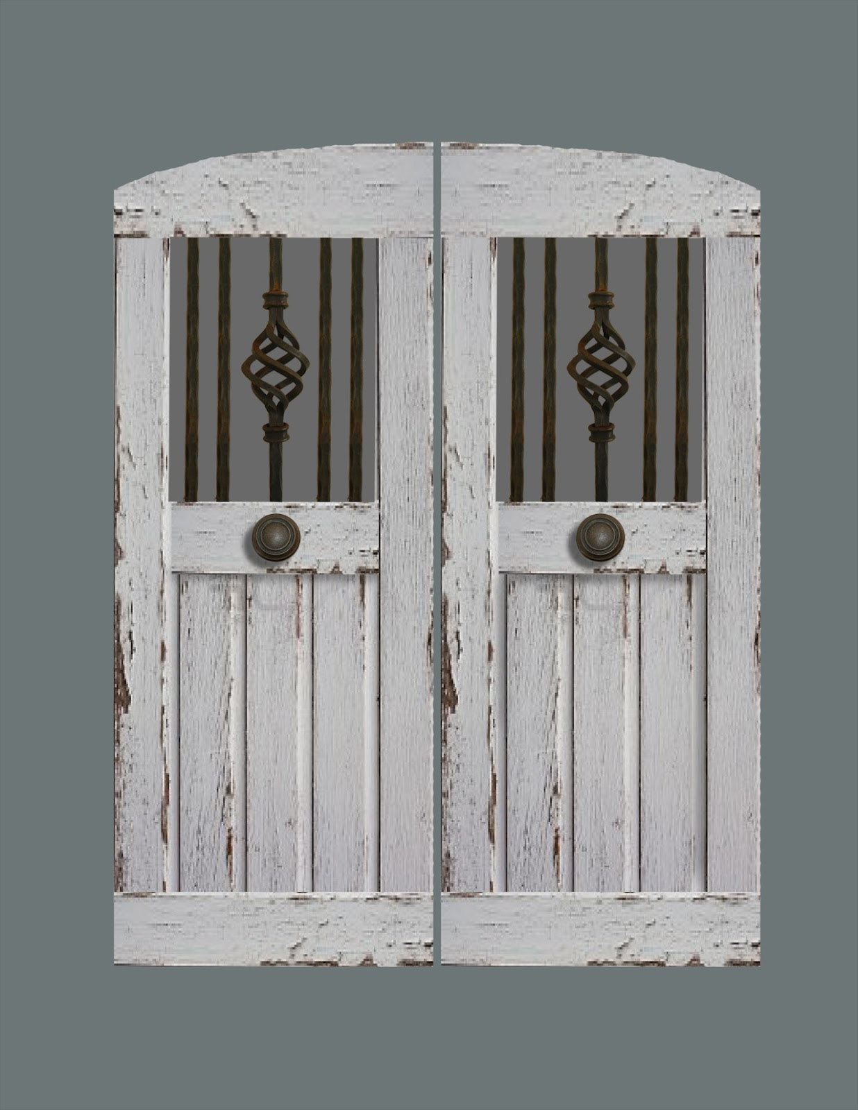 Handcrafted Swinging Saloon Doors With Reclaimed Vintage Wrought Iron.
