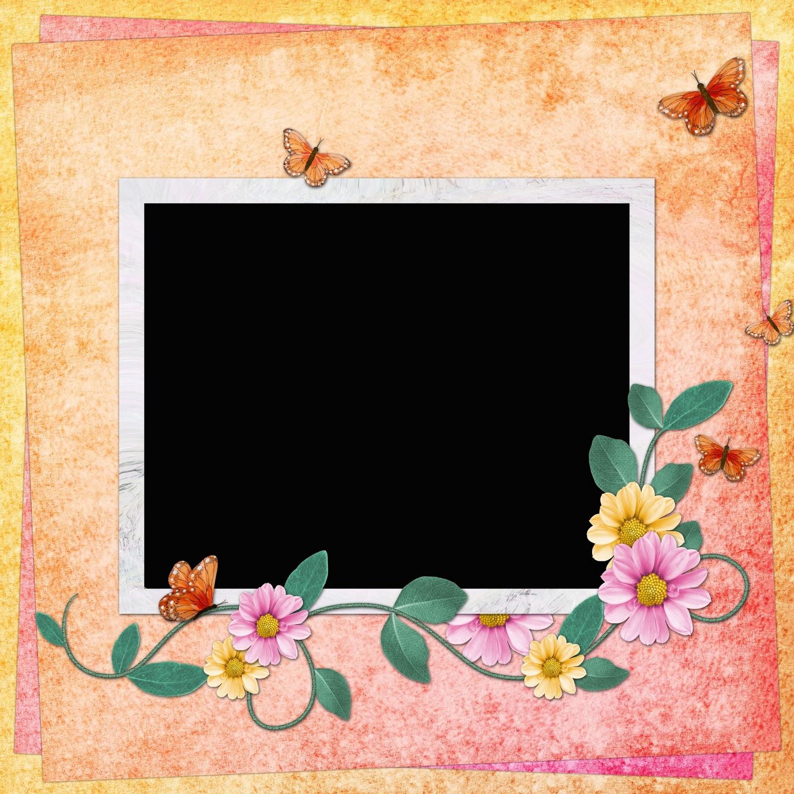 Banco de im genes portaretrato con flores y mariposas for Cuadros para poner fotos