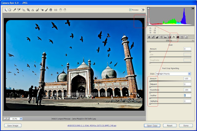 I am a huge fan of Adobe Camera Raw dialog and that's why I love Lightroom as well !!! Initially when I started uploading my photographs to Flickr, I saw many folks adding borders to their photographs. I also wanted to have borders in mine photographs and tried it in Photoshop. The process of increasing canvas was a bit expensive in terms of time and I didn't like it much when I have to do it for many photographs... During this I found another solution in Picnik which is default editor of Flickr. But what about the photographs which are not uploaded to Flickr.Later I found something interesting in Adobe Camera Raw, which can be used to have rounded borders. Although now I have stopped adding borders to my photographs but this process can be useful for folks who want rounded borders.... Check out !!1. Open your JPEGs or Raw files in Adobe Camera Raw Dialog !2. When file is opened in Adobe Camera Raw Dialog, Click on 'Fx' tab on right side.3. Move following sliders to extreme left- Amount- Midpoint- Roundness- Feathe-HighlightsThis process simply create a black rounded border around your photograph...Certain limitations of this method -1. Only rounded borders can be created2. No way of increasing border width unless want feather effect3. We may have something important towards the edges which will become border after this.4. Etc.Try and share if you find this method interesting....