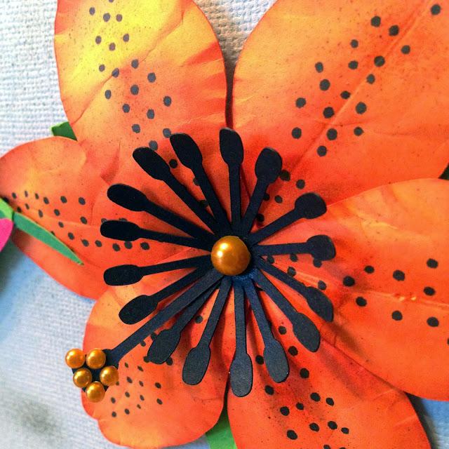 scrapbooking, card making, handmade, custom, bird, hummingbird, flower, lily, tiger lily, Mother's Day, garden, gardening, paper crafts