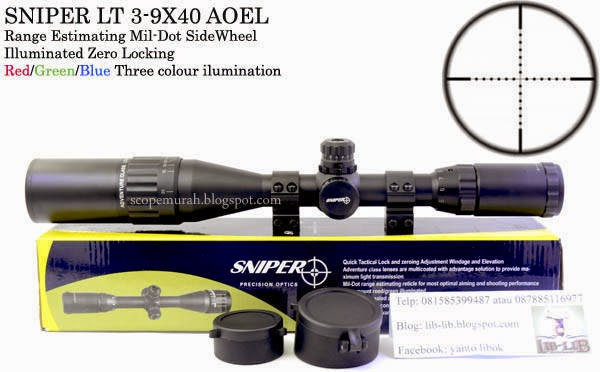 Sniper 3-9x40 A.O.E.L Size A.O. Range Estimating Mil-Dot SideWheel Illuminated Zero Locking/Resetting Scope.