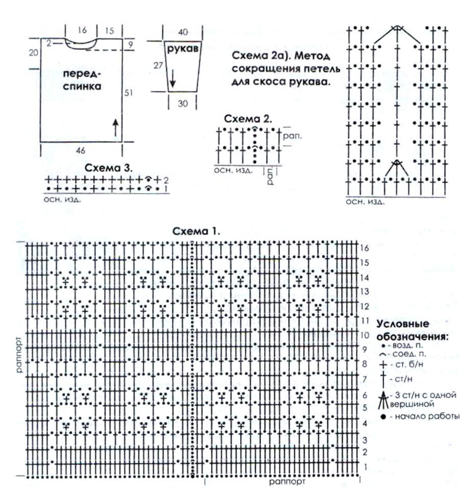 Схема вязания крючком для мужского свитера схемы