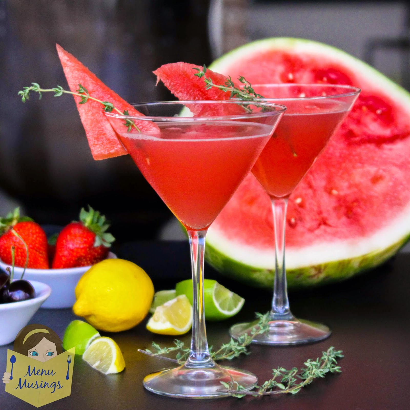 Menu Musings of a Modern American Mom: Watermelon Thyme Martini