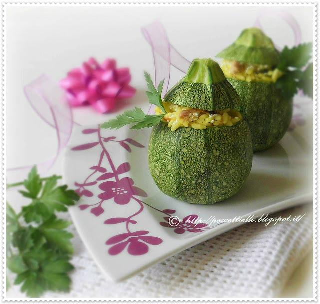 Zucchini tondi ripieni di riso e tonno
