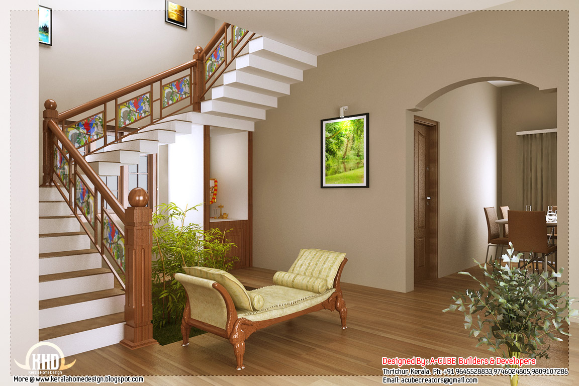 Kerala style home interior designs for Drawing room interior