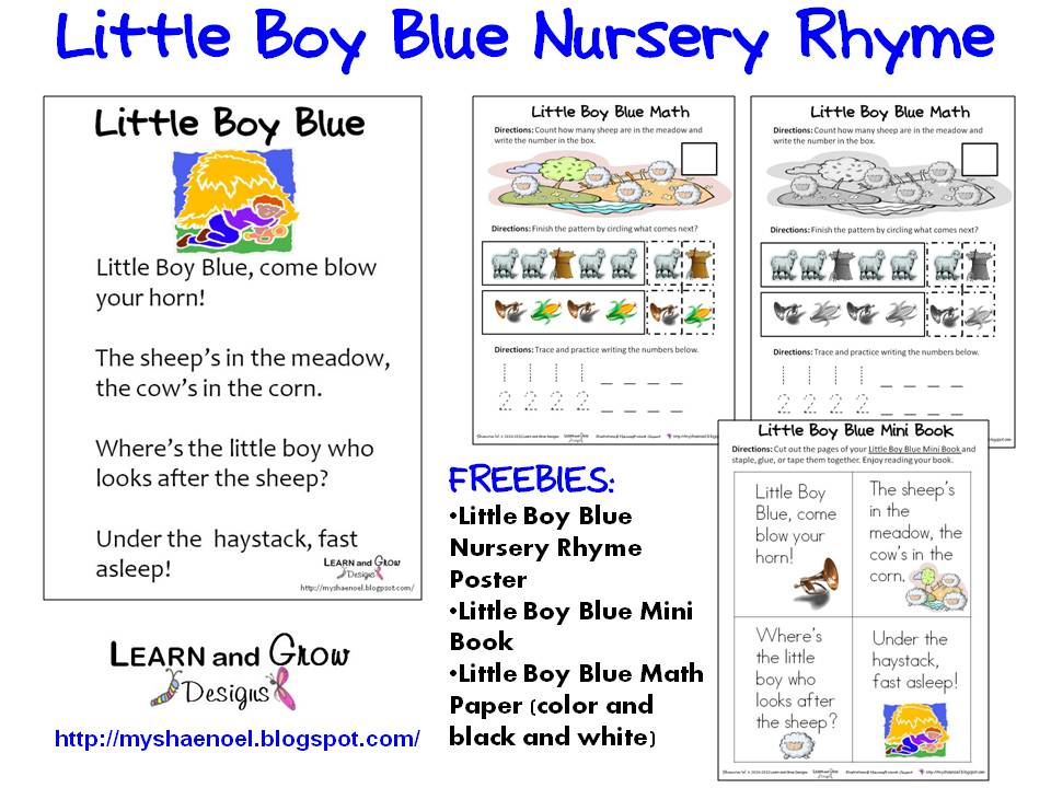 Little Boy Blue Nursery Rhyme Free Printables