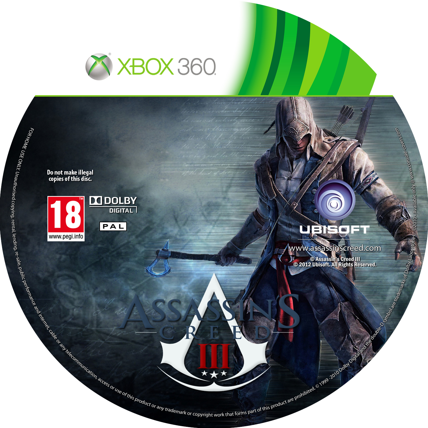 Label Assassins Creed III Xbox 360