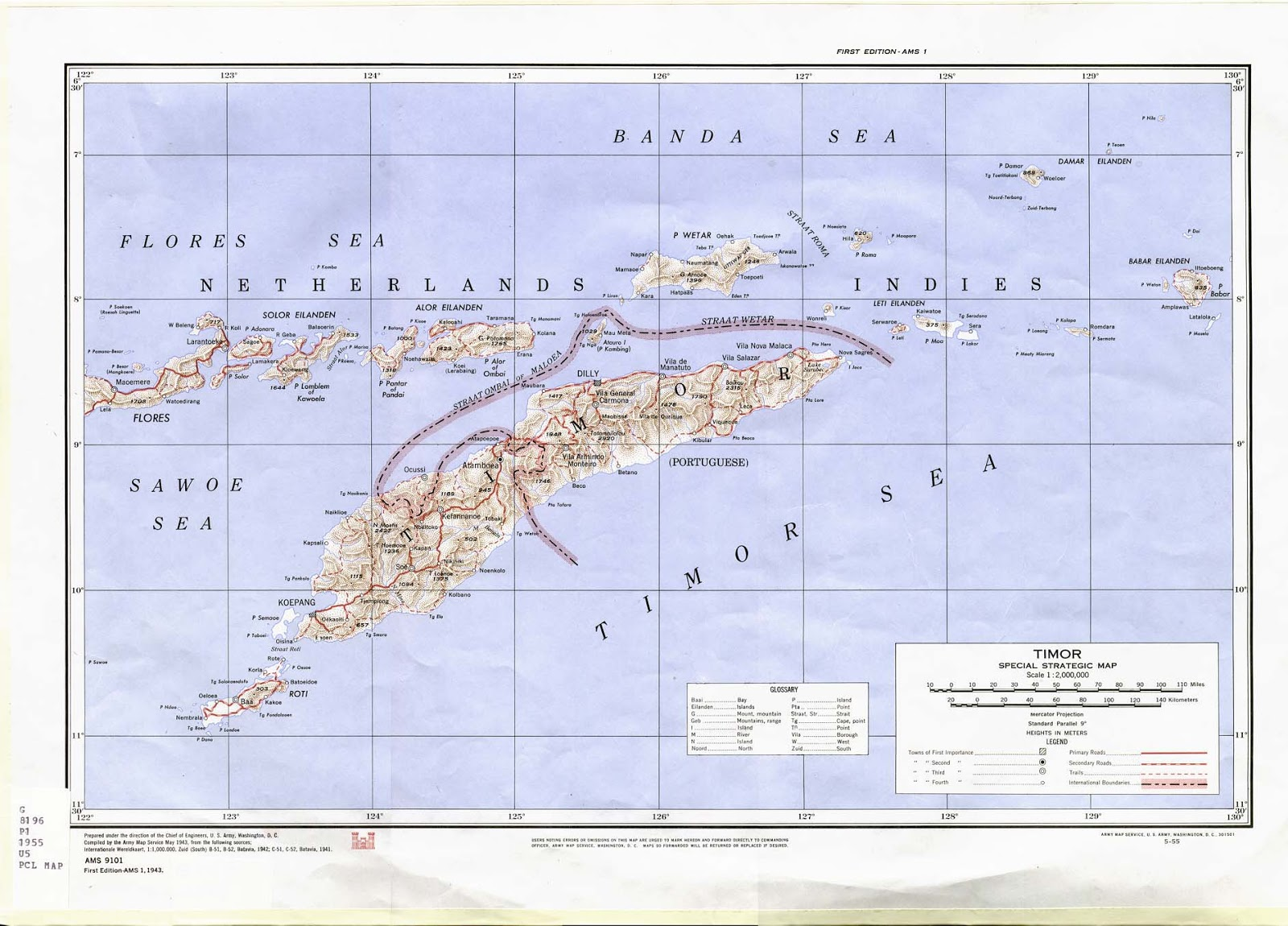 1943 us army map denoting the line between portuguese east timor and the rest of what was then still dutch territory
