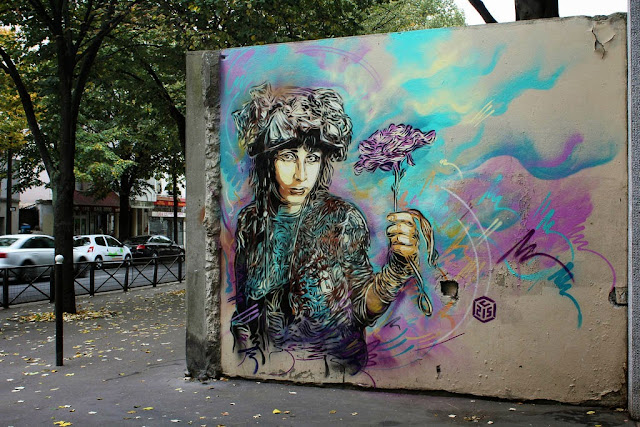 Two new Street Art Pieces by French Stencil Artist C215 On the streets of Paris, France. 1