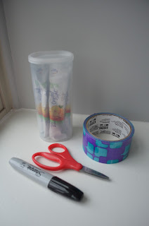 duct tape scissors crystal light container