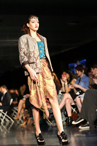 ecofashion week value village thrift chic show, posing in vintage, thrift chic fall looks, floral jacket and scarf skirt and shawl