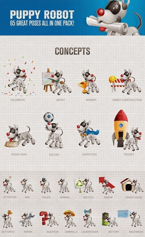 Puppy Robot Cartoon Characters