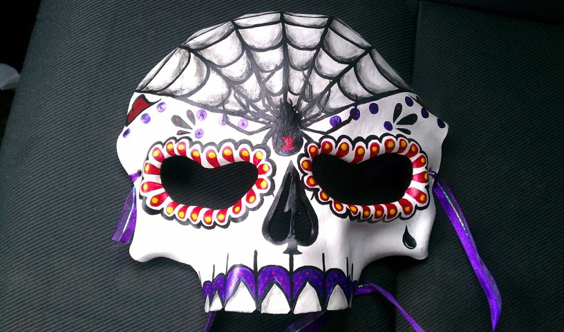 Handpainted Leather Day of the Dead Mask