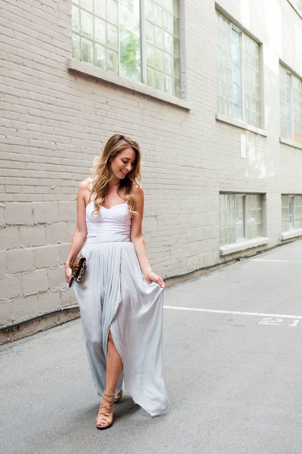 pearled grey pale blue zara maxi skirt outfit