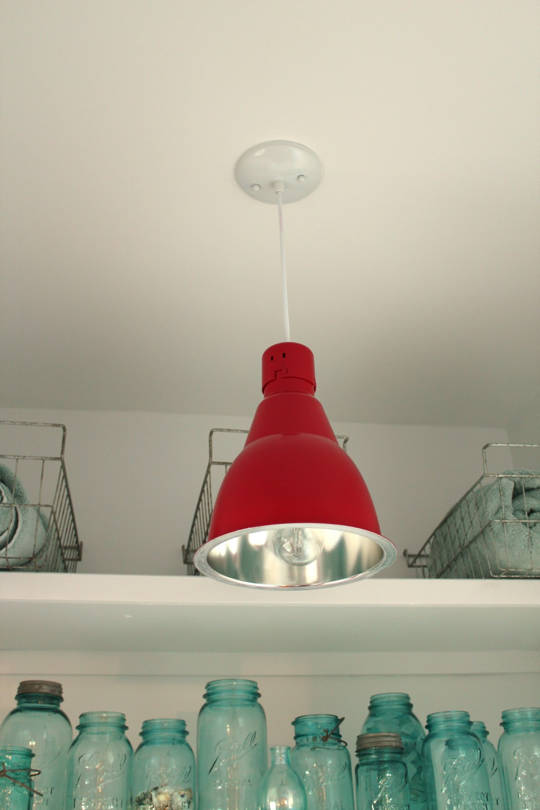 west elm, industrial, pendant lights, salvaged, red pendant light, industrial hanging lighting, bathroom lights