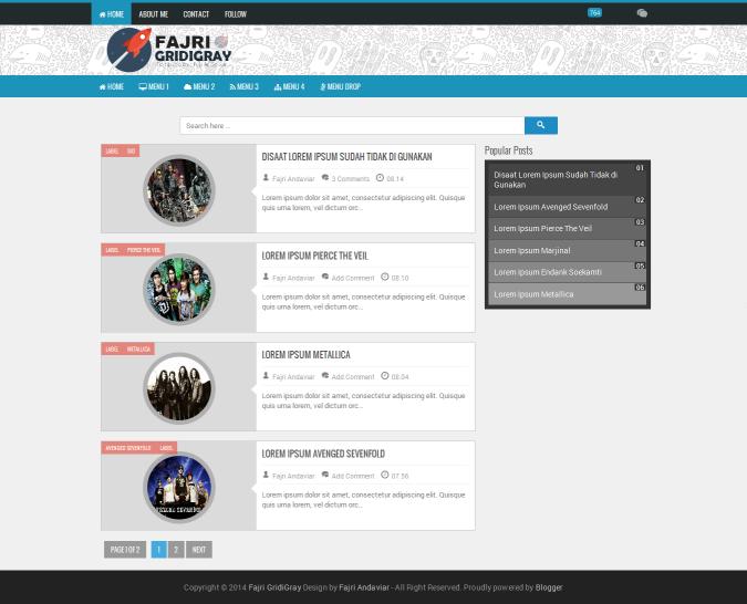 Fajri GridiGray Responsive Blogger Template