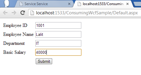 WCF example in asp.net