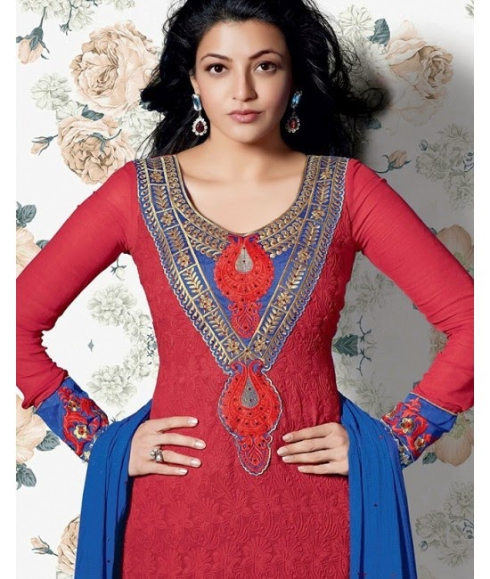 Kajal Agarwal in Red Designer Dress