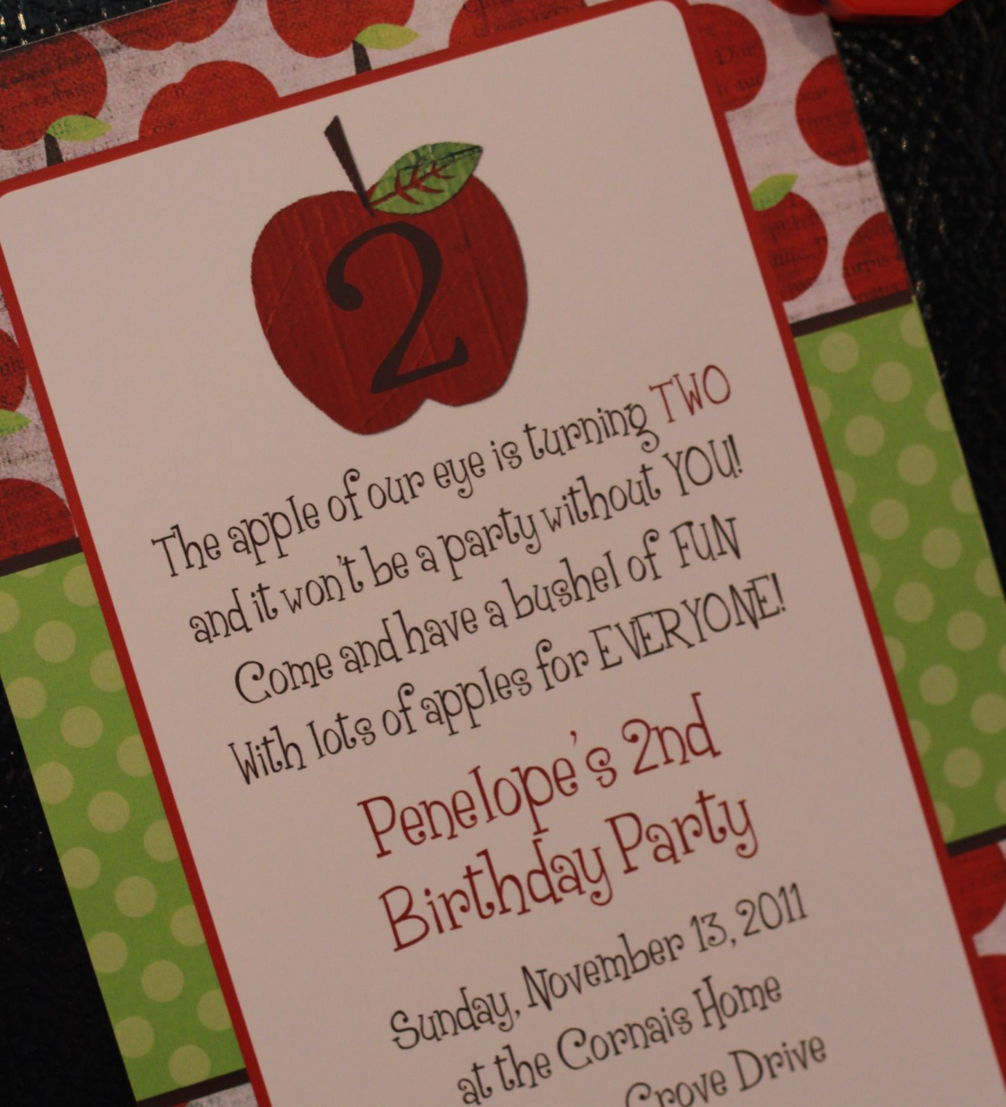 Her Amazing Birthday Invitations That The Polka Dot Press Did For Us LOVE Them I Also Got Address Labels And It Was Still Very Affordable