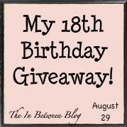 In Between Writing and Reading's 18th Birthday Giveaway