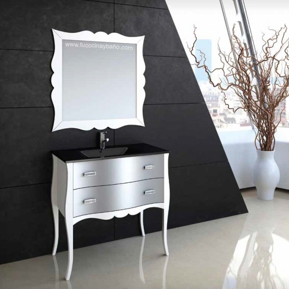 mueble baño patas vintage plata blanco
