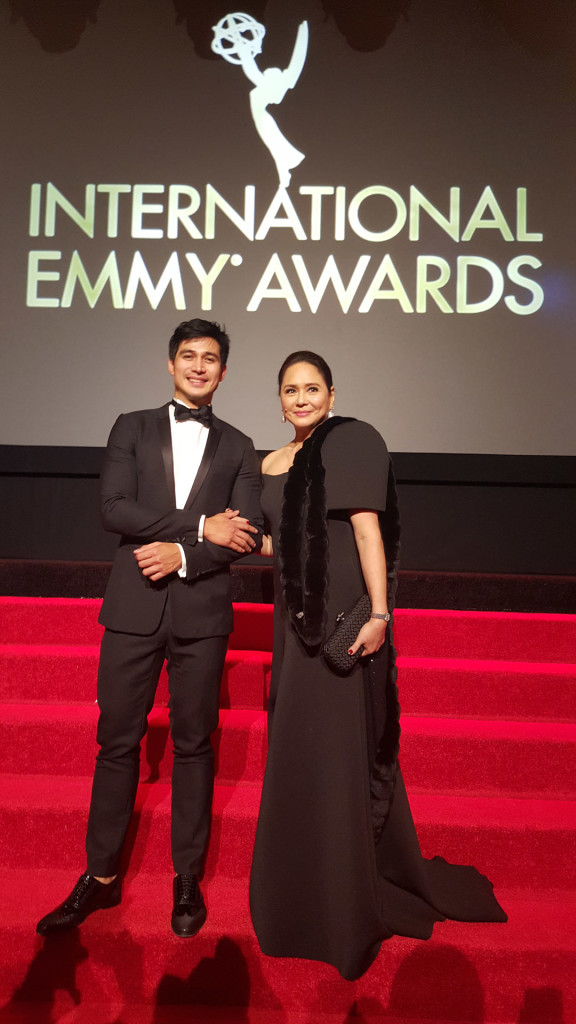 Actor Piolo Pascual and ABS-CBN President Charo Santos Concho at the 43rd Emmy Awards