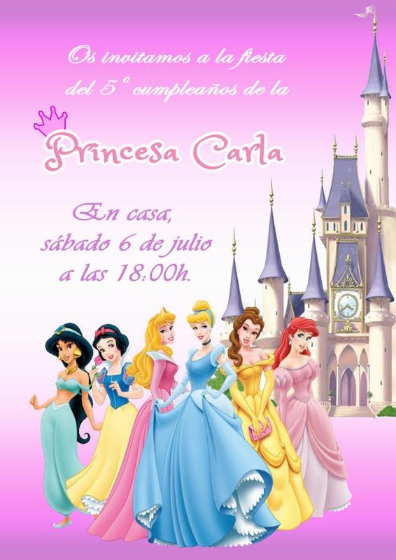 Mardefiesta: Invitación princesas Disney