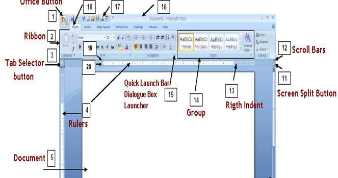 Mr  Homework  Parts Of The Microsoft Word 2007 Screen And Their Functions