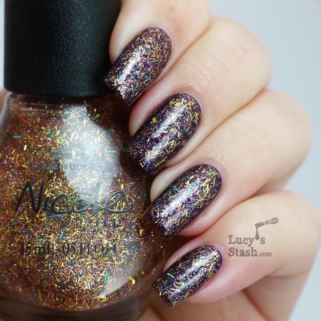 Lucy's Stash -  Nicole by OPI A Gold Winter's Night layered over Here We Kome A-Karoling