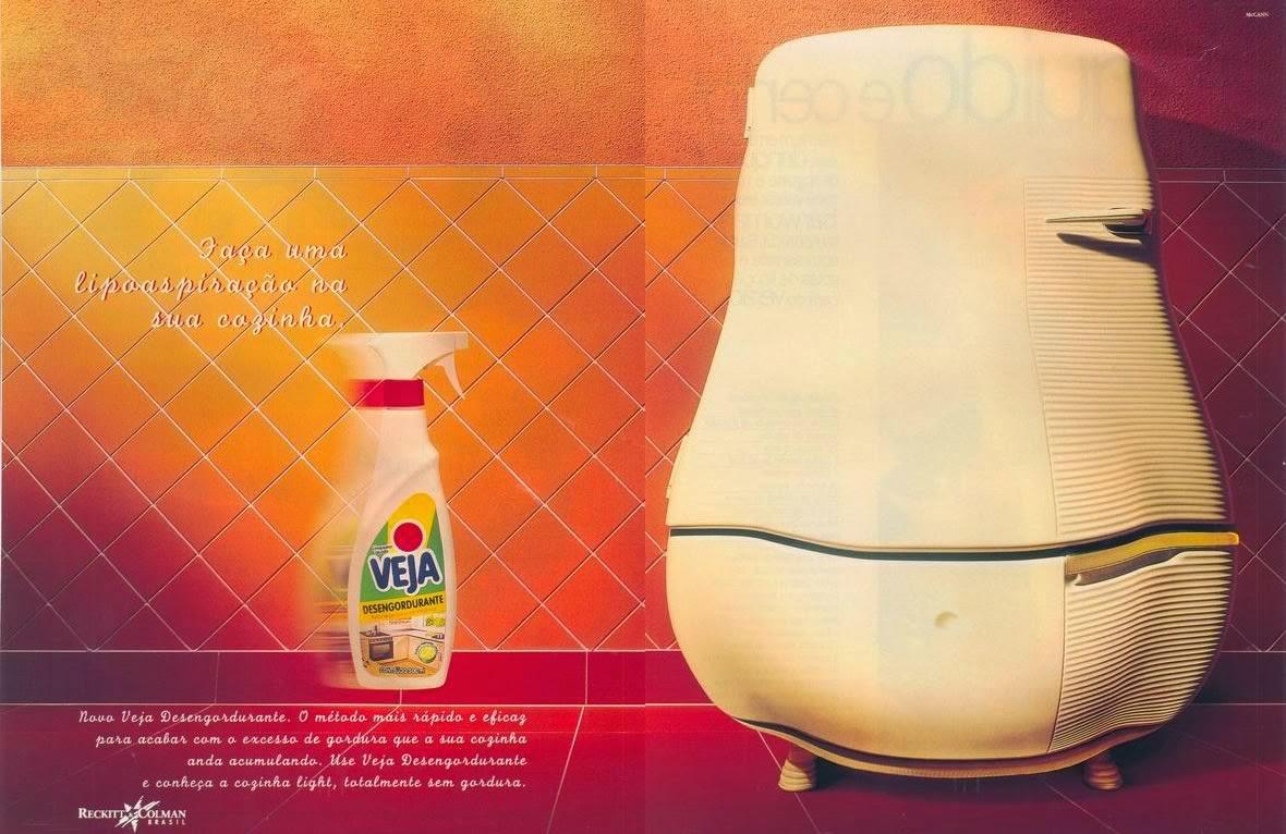 Propaganda do Veja Desengordurante em 1997: promessa de lipoaspiração na cozinha.