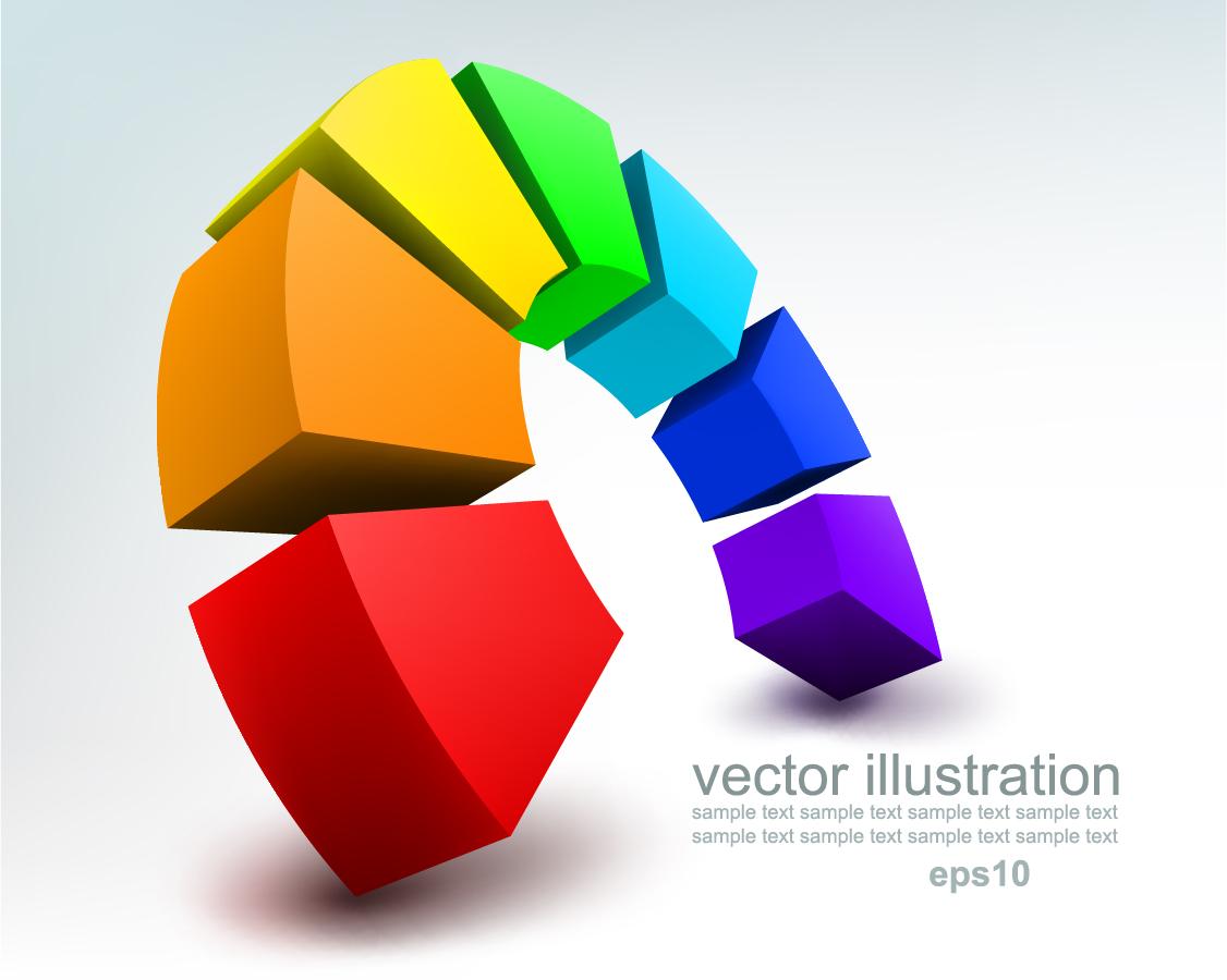 立体的に配置したカラフルな背景 stereoscopic technology background イラスト素材
