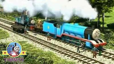 Thomas & friends big blue Gordon locomotive engine and Ferdinand the train rail track workmen