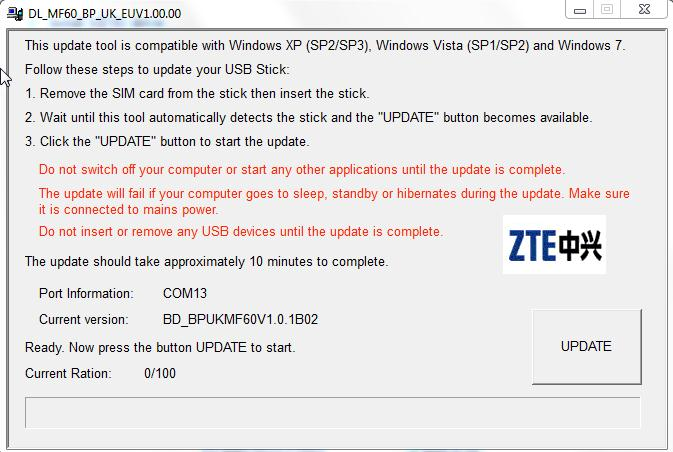 the zte firmware upgrade tool the owner
