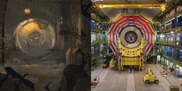 Left portal 2 concept art right the large hadron collider