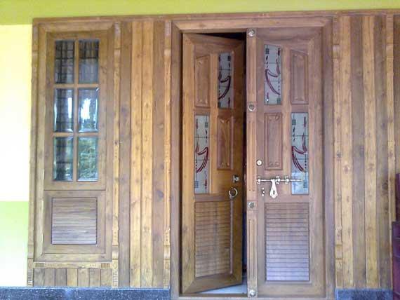 Latest Kerala Model Wooden Double Doors Designs Gallery 2013