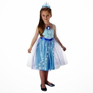 Foto gambar anak perempuan cantik pakai dress elsa frozen