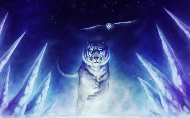 papel de parede tigre branco coruja arte larga wall paper hd