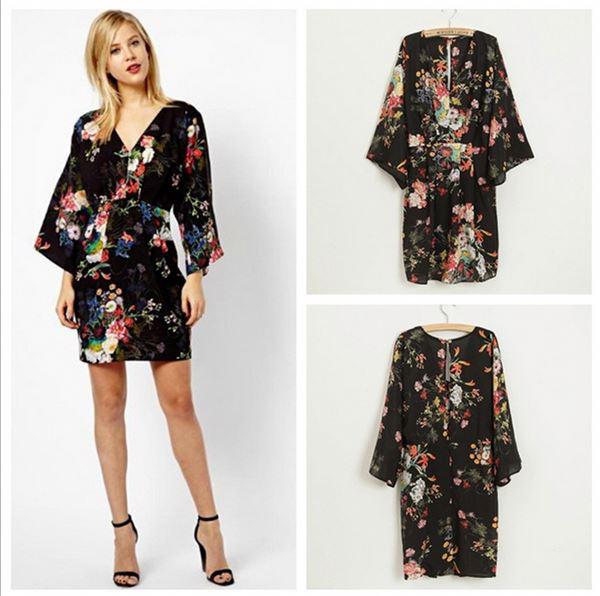dress kimono jepang motif bunga murah grosir