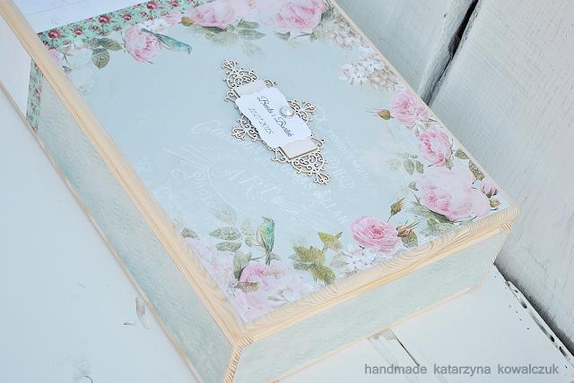 romantyczny album ślubny z drewnianym pudełkiem scrapbooking