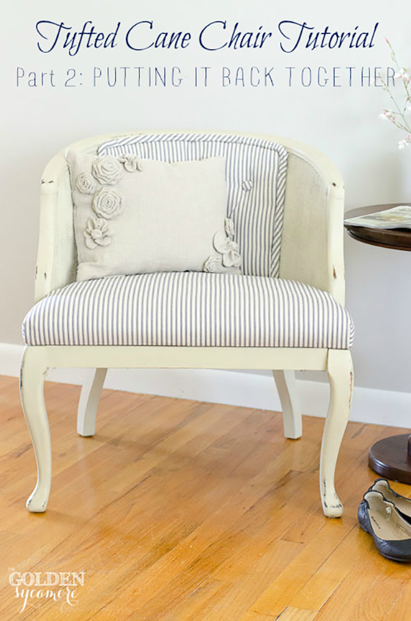 Tufted cane chair tutorial -  If you loved painted furniture or are thinking about using Chalk paint on furniture for the first time then you should check this post full of 25 incredible makeoevers. 25 Fabulous painted furniture ideas!