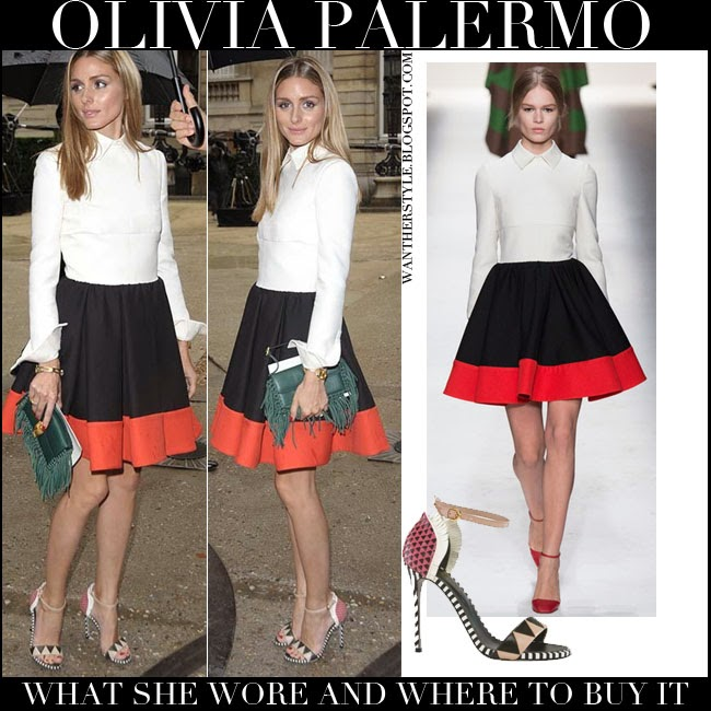Olivia Palermo in dress with white top with black and red skirt Valentino with ankle strap sergio rossi oberoj sandals July 9 2014