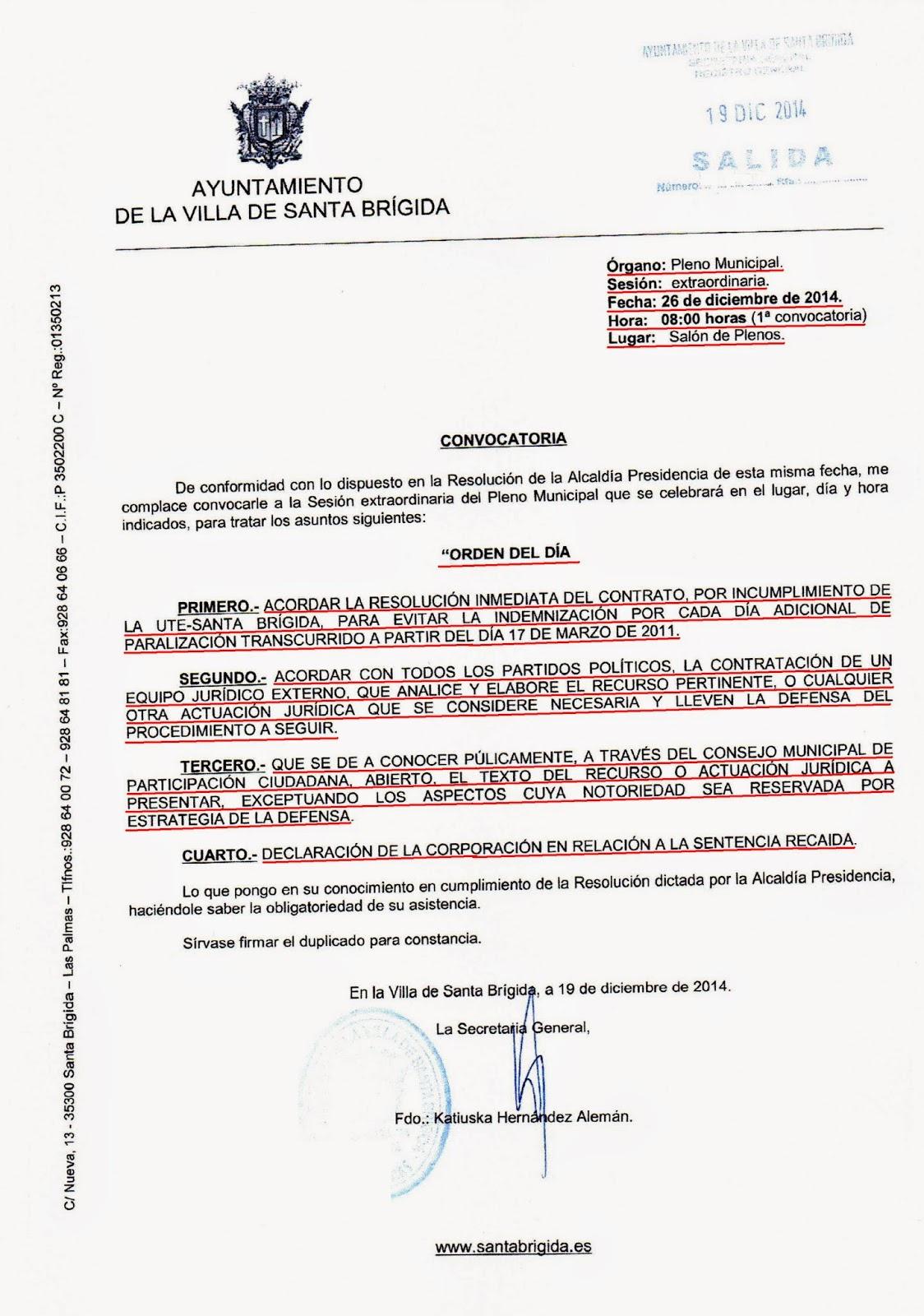 EL PLENO EXTRAORDINARIO CONVOCADO POR LA OPOSICION, SE CELEBRARA EL ...