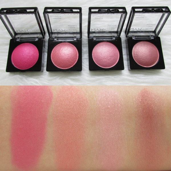 Swatches: NYX Cosmetics Baked Blushes - Statement Red, Ladylike, Foreplay, Chiffon