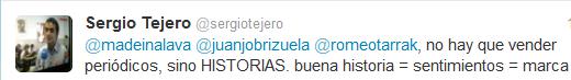Tuit de Sergio Tejero - @sergiotejero sobre el futuro de los medios de comunicación