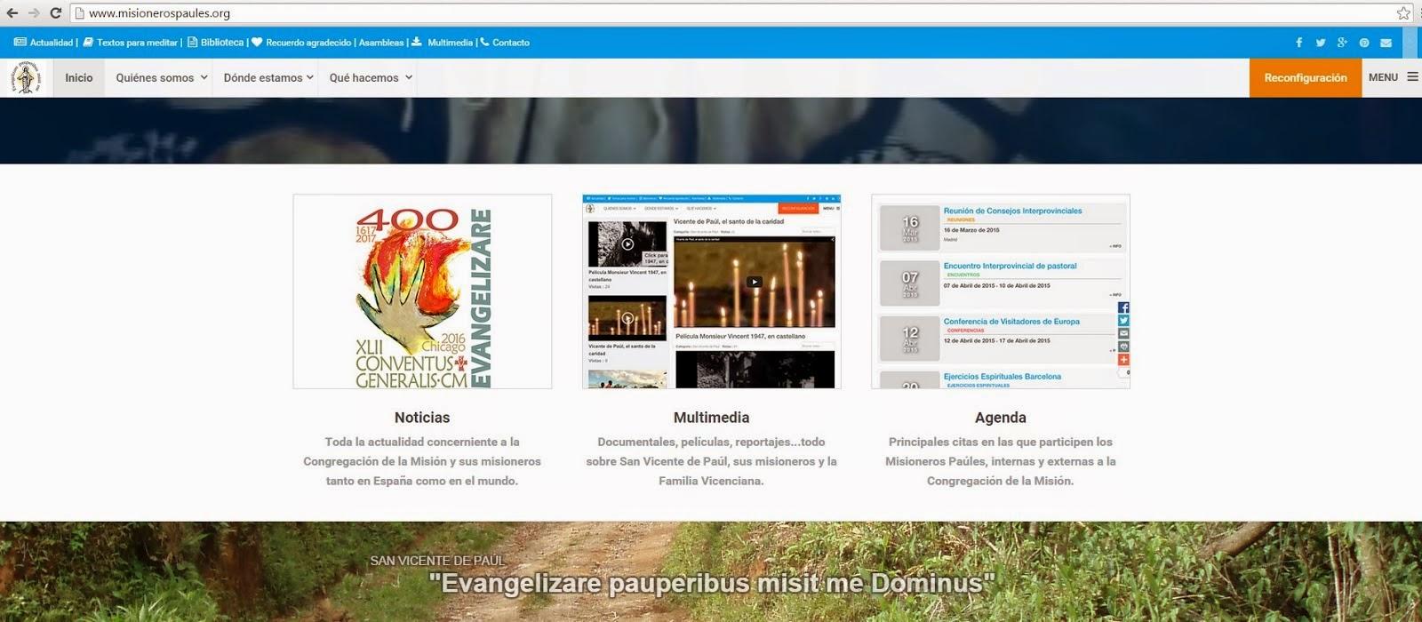 Nueva página web interprovincial de la Congregación de la Misión (padres paúles)