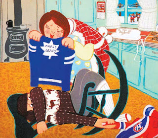 image The Hockey Sweater by Rock Carrier - Kawartha Lakes Film Circuit September 29 Short Film image shows boy cowering from Toronto Maple Leafs Sweater