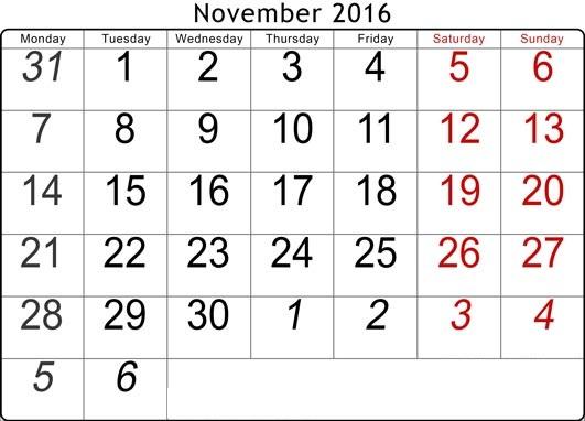 2016 Calendar with UK Holidays Free, November 2016 Printable Calendar ...