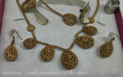 carved almond nut beads , carved beads , Chander Kant Bondwal